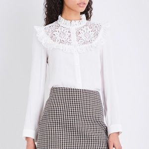 NEW Maje Caprice Lace Accent Button Front Top 1 S